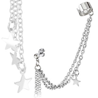 CZ Stud Chain Earring with Star Dangles and End Clip