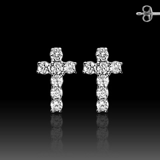 .925 Sterling Silver Stud Earring With Prong Set CZ Cross