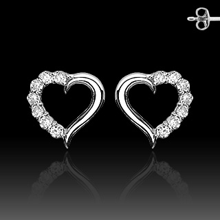 .925 Sterling Silver Earrings With Prong Set CZ HEART
