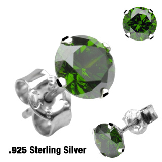 Pair of .925 Sterling Silver Stud with Round Peridot CZ