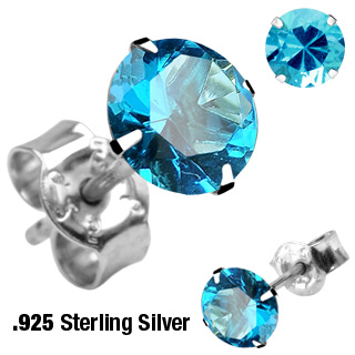 Pair of .925 Sterling Silver Stud with Round Aqua CZ