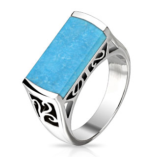 Rectangular Turquoise Stone Set Band Ring