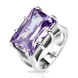 Highly Faceted Amethyst Rectangular Gem Cast Ring