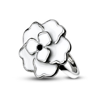 White Enamel Rose Ring