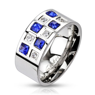 Blue and Clear Cubic Zirconia Paved Ring