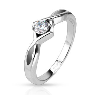 CZ Solitaire Single Knotted Frame Band Ring