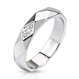 Diamond Cut Faceted Band Ring with Triple Center CZs