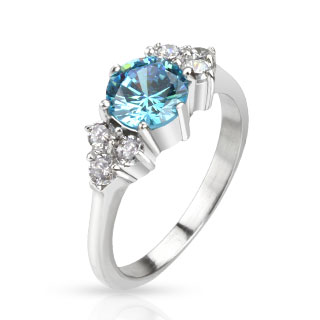 Large Sea Blue CZ with Multi CZ
