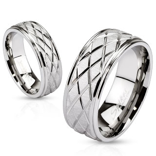 Diamond Groove Cut Engraved Band Ring