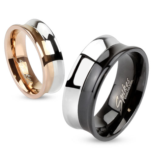 Stainless Steel Concave Dual Tone Ring