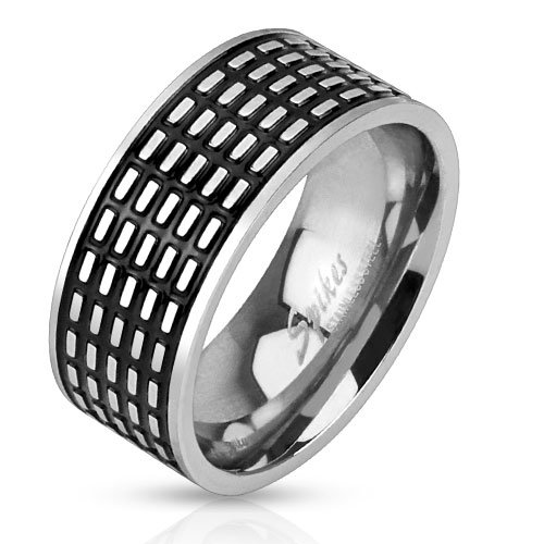 Stainless Steel Black IP Center Square Grooved Band Ring