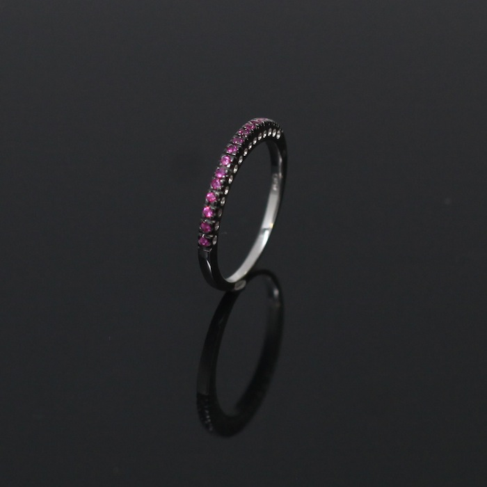 Pink CZ Partially Paved Ring