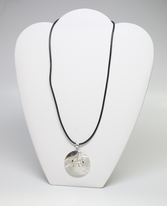 White Shell Pendant with Silver