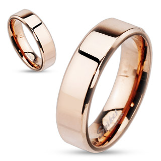 Rose Gold IP Over Stainless Steel Beveled Edge Flat Band Ring