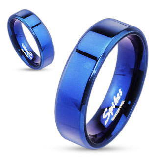Blue Beveled Edge Flat Ring