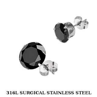 Stud Earring with Round Black Cubic Zirconia