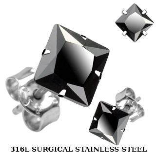 Stud Earring with Square Cut Black Cubic Zirconia
