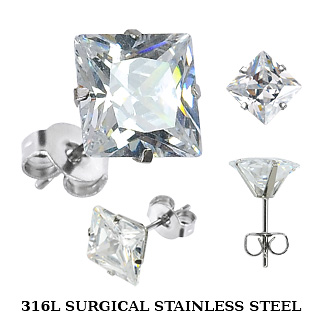 Stud Earring with Square Cut Clear Cubic Zirconia