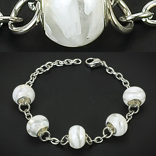 Clear White Murano Flower Glass Beads