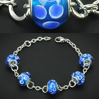 Blue Murano Circle Glass Beads