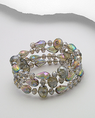 Smoked Topaz Crystal Glass Bracelet