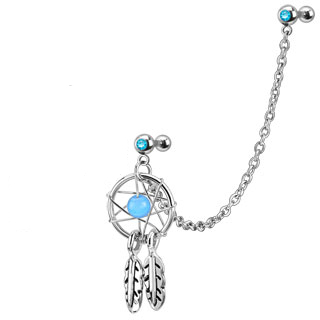 Linked Dangle Dream Catcher with Gem