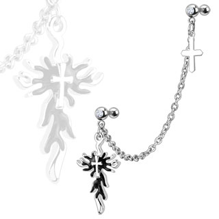Linked Dangle Gothic Flaming Cross with Gem
