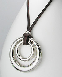 Double Circle Pendant with Leather Necklace