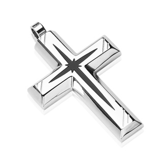 Black Star Centered Cross