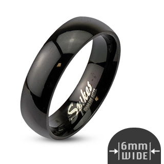 Glossy Mirror Polished Black Dome Band