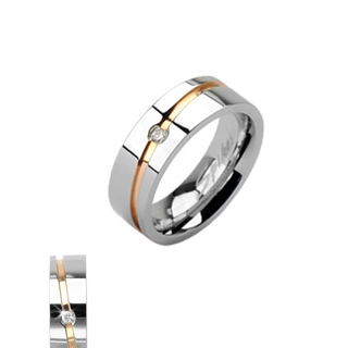 Rose Gold Striped Single Cubic Zirconia Ring