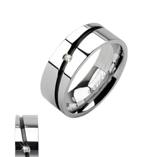 Black Striped Single Cubic Zirconia Ring