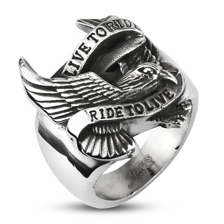 Biker Eagle 'Live to Ride Ride to Live'