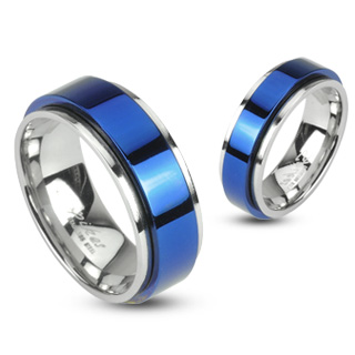 2 Tone Double Layered Ring with Blue Spinner