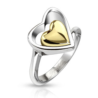 Gold IP Heart Within Hollow Heart Band Ring