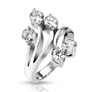 Large CZ Set Vines Cast Ring