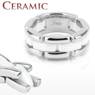 Stainless Steel & White Ceramic Flexible Linked Ring