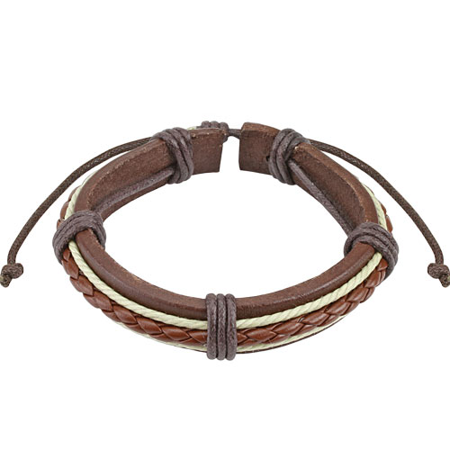 Brown Braided Rope Leather Bracelet with Drawstrings