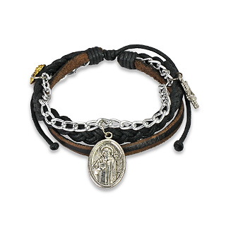 Black Leather Braided Bracelet with St. Benedict's Charm