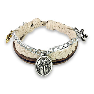 Leather Braided Bracelet with St. Benedict's Charm