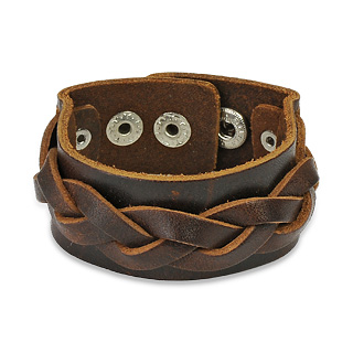 Brown Leather Bracelet with Layered Thick Weaved Strips