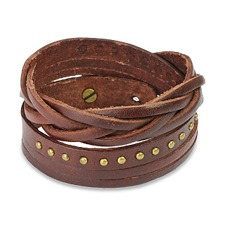 Brown Leather Multi-Wrap Bracelet with Multi Studded Weave