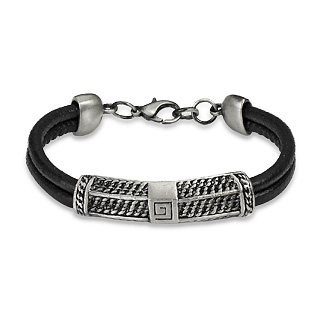 Black Double String Leather Bracelet with Steel Centre