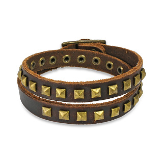 Brown Leather Double Wrap Bracelet with Pyramid Studs