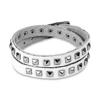 White Leather Double Wrap Bracelet with Pyramid Studs