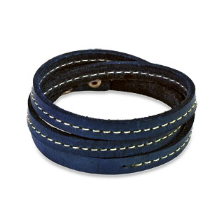Blue Leather Triple Wrap Bracelet with Stitched Center Design