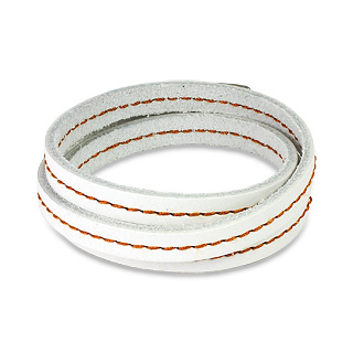 White Leather Triple Wrap Bracelet with Stitched Centre