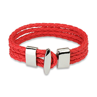 Red Braided Leather 4 Strings Bracelet