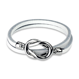 White Leather Double Loop Bracelet with Steel Knot