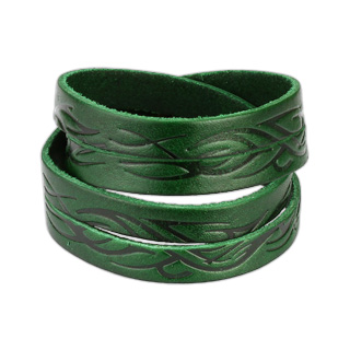 Green Leather Double Wrap Bracelet with Tidal Wave Tribal Design
